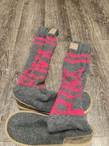 Victoria's Secret Gray PinK Knit Sweater Socks Mukluk Boots Sz M Medium 7 8
