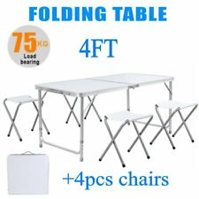4 FT Portable Folding Table Outdoor Picnic Plastic Camping Dining Party+4 Chairs