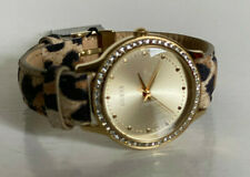 NEW! GUESS GOLD DIAL GLITZ LEOPARD PRINT GENUINE LEATHER WATCH $85 SALE