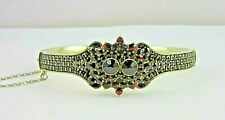 Stunning Gold Colored SILVER Hinged Bangle Bracelet encrusted with Garnets