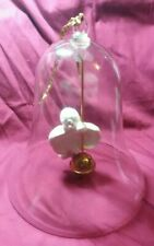 Large Thin Glass Bell with Hanging Ceramic Angel and Brass Bell Clapper Vintage