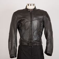 Men's Leather Motorcycle Racing Jacket Size 56 Black Armor AGV Sport