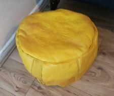 Yellow Genuine Leather Moroccan Pouffe New Pouf Poufe Ottoman Handmade