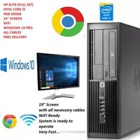 "HP CORE i5 PC COMPUTER DESKTOP 4GB 500GB 19"" SCREEN WINDOWS10 PRO  WiFi FULL SET"