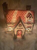 RARE Vintage Kringle Mountain North Pole Santa's House Lighted Village1996 HTF