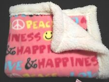 Love,Peace,Happiness Fleece / Sherpa small Dog Blanket handcrafted