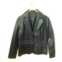 Bagatelle Leather Jacket Women Large Grommets Studs Ultra Soft Biker Blazer $350