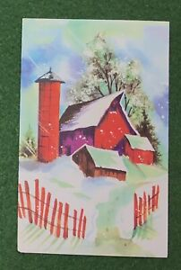 vintage Greeting Card Christmas Quaint Barn great 70s nostalgic art UNUSED
