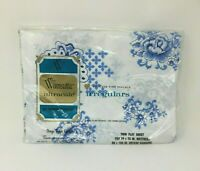 "Wamsutta Ultracale Vintage Twin Flat Sheet Blue White Percale Irregulars 39""x75"""