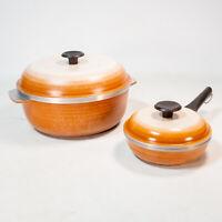 Vintage Regal Ware Set Enamel Cast Aluminum Non Stick Cookware Sauce Pot Pan Lid