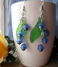 Bluebell Blue Lily of the Valley Lucite Flower and Pearls Earrings More Colors