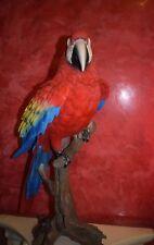 Deko-Figur Lebensechter Papagei Ara auf Stamm Dekoration Tierfigur Gartenfigur,