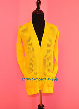 NEW HERMES 50%OFF YELLOW SILK CARDIGAN SWEATER BLOUSE 34 36 TUNIC BIRKIN XS S