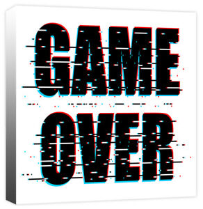 Glitch Game Over - Boys Computer Gaming Quote Canvas Wall Art Print Picture