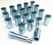 20 x Car wheel Tuner Slim nuts bolts. M14 x 1.5, 17mm Hex star key, Taper seat