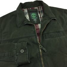 Timberland Mens Jacket Size 2XL 100% Cotton Green & Plaid Lined