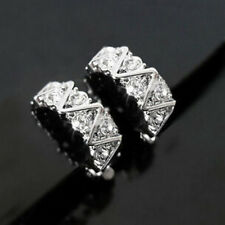 Xmas Clip On Rhinestone Crystal Half Hoop Huggie Stud Silver Plated Earrings
