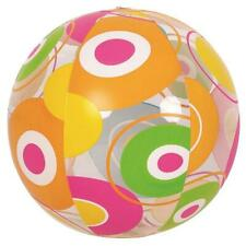 "20"" Vibrantly Colored 6-Panel Circle Print Inflatable Beach Ball Swimming Pool w"