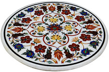 "18"" White Marble Coffee Table Top Marquetry Carnelian Inlay Work Decor Art C2977"