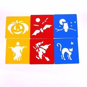 Plastic Halloween Pumpkin Art Stencils Template for Kids Autumn Drawing Set of 6