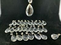 27+ Crystal glass prism chandelier lamp parts pear almond shape tear drop