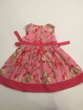 RARE Boutique BABY LULU Red & Pink Floral CHINA ROSE DRESS 4 4T Portrait Party