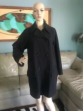 Brooks Brothers Black Wool & Cashmere Pea Coat Jacket Made In England Woman's M
