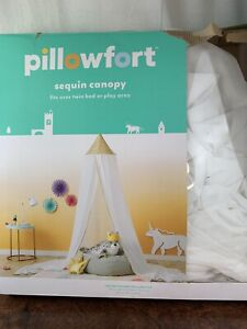 """Pillowfort Sequin Canopy Fits Over Twin Bed or Play Area 100""""L×180""""W×18 D"""