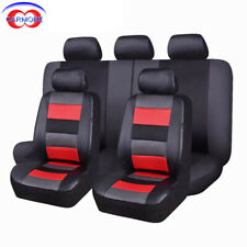 11 PCS Universal Seat Covers Set Red - Faux Leather Mesh Polyester Breathable