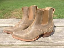 Women's 7 Twisted X front zip Distressed Leather Western ankle boots w/elastic