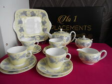 Vintage 1940's Wedgwood Yellow Ivy Teapot Set Saucers Cups Sugar Plates Jug Cake