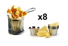 8 piezas Mini Cromado Chip Freidora Servir Comida presentación cesta de