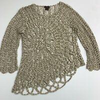 Multiples Open Knit Tunic Sweater Women's M Gray Long Sleeve Asymmetrical Hem