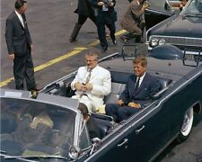 President John F. Kennedy in limousine with Ecuador leader New 8x10 Photo