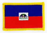 HAITI FLAG PATCH BADGE NEW IRON ON EMBROIDERED