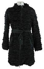 Prada Mantel 38 (D) 44 (I) schwarz Seide geraffte Seidenbänder coat wie neu