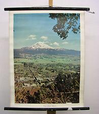 Bonito antiguo schulwandbild popocatepetl volcán El pompis méxico américa 55x72cm