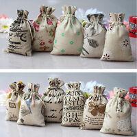 5/10X Small Burlap Jute Hessian Wedding Favor Gift Bag Drawstring Pouch Sack .*