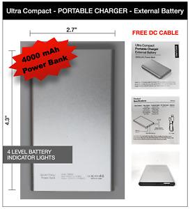 New 4000mAh USB External Slim Portable Power Bank 5V 2A Great Backup Battery
