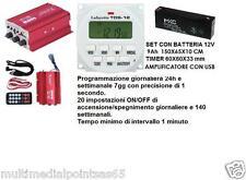 AMPLIFICATORE CON USB PLAYER TIMER TDS-12 V BATTERIA 12V ADATTO CANTO UCCELLI