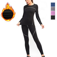 Womens Thermal Underwear Set Fleece Lined Ultra Soft Long Sleeved Base Layer