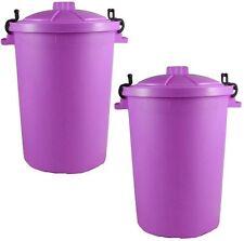 Large Plastic 85 Litre Dustbin Recycle Bin with Locking Lid Set of 2 Plastic Bin