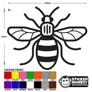 Manchester Bee - Vinyl Decal Sticker - Car/Van Worker Bee - Any Colour!