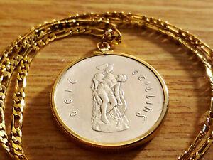 "1916-1966 Irish Silver Cuchulaine Coin Pendant 18GF 24"" GOLD FILLED FIGARO CHAIN"