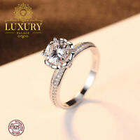 Cubic Zirconia Solid 925 Sterling Silver Romantic Engagement Ring for Women