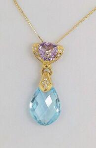18ct 18k Gold Topaz & Kunzite Pendant Something Blue Wedding Bride Necklace