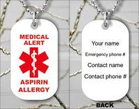 ASPIRIN ALLERGY MEDICAL ALERT PERSONALIZED DOG TAG PENDANT NECKLACE -mku7Z