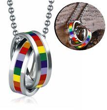 2 Ringe Regenbogen Anhänger Kette Lesbisch Homosexuell Rainbow LGBT Gay Schmuck