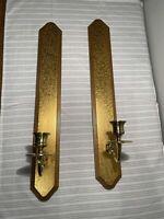 "Vintage Home Interior Gilt Wood & Brass Wall Sconce Candle Holder Set 20"""