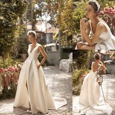 Simple Cheap Wedding Dresses Bride Bridal Gowns Sleeveless Plus Size 2 4 6 8 10